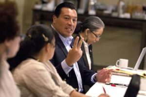 Alberto B. Mendoza, executive director, speaks at the NAHJ board meeting on Thursday, Sept. 17, 2015.